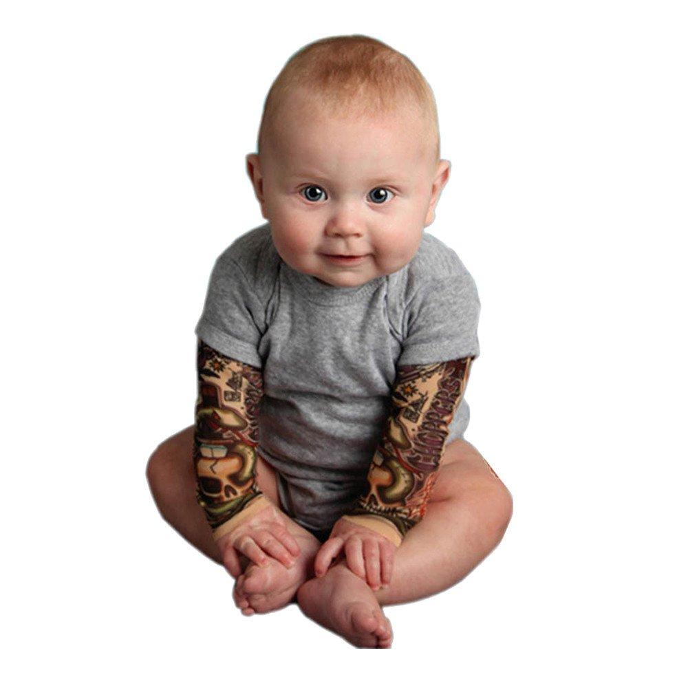 ASHOP Rragazzi Neonati Body Neonato,Manicotti per Tatuaggio,3-24 Mesi Grigio e Nero