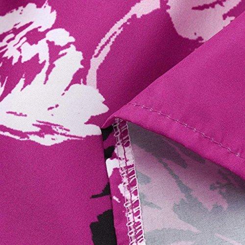 Rose Chemise Femme pour Chemisier vases Trydoit Manches Blanche Imprim Encolure Longues Manches en Floral V Rn6dqzw