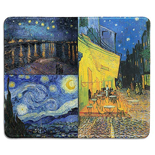 dealzEpic - Art Mousepad - Natural Rubber Mouse Pad Printed with Vincent Van Gogh Paintings of Night Art Collage - Stitched Edges - 9.5x7.9 inches