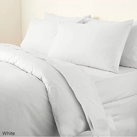 NON IRON Luxury Parcale Plain Dyed Duvet Cover U0026 2 Pillow Cases Bed Set  (White