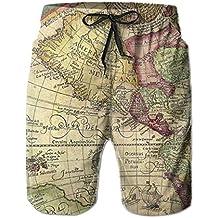 Hoodieu World Map Tie Waist Mens Boardshorts Swim Trunks Men Tropical Gym Athletic Board Shorts Bathing Swim Trunks