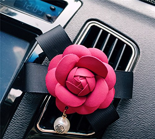 (Follicomfy Car Air Conditioner Vent Freshener Clip Auto Camellia Essential Oil Gift Decor Accessory,Rose Red Flower)