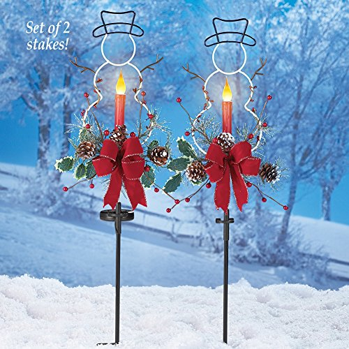 Outdoor Solar Christmas Decorations, LED Candle, Snowman and Floral Accents Garden Stakes, Set of 2