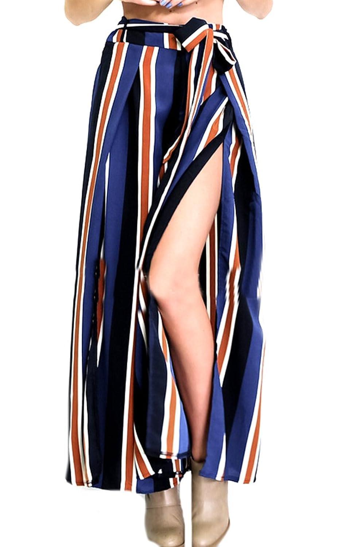 Liva girl Womens Stylish Striped Side Split Casual Wide Leg Pants