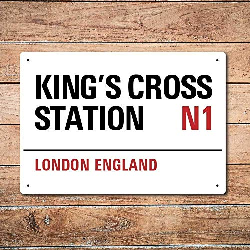 Nat999Lily London Metal Street Sign - King's Cross Station 10X7 Inch