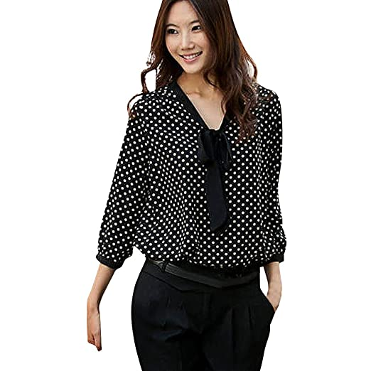 HOSOME Women Top Women Long Sleeve Chiffon Bowknot Shirt Casual V-Neck Dots Blouse Top