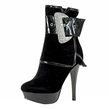 Women's BD1145 Fashion Black Suede Folded Ankle Boots Shoes