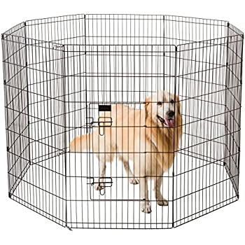 """Ollieroo Dog Playpen Exercise Pen Cat Fence Pet Outdoor Indoor Cage 8 Panel Black E-coat Small (24"""" W x 42"""" H)"""