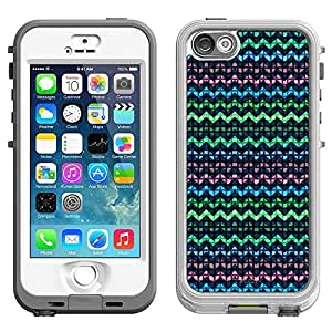 Skin Decal for LifeProof Nuud Apple iPhone 5 Case - Square Green Blue Pink Chevrons