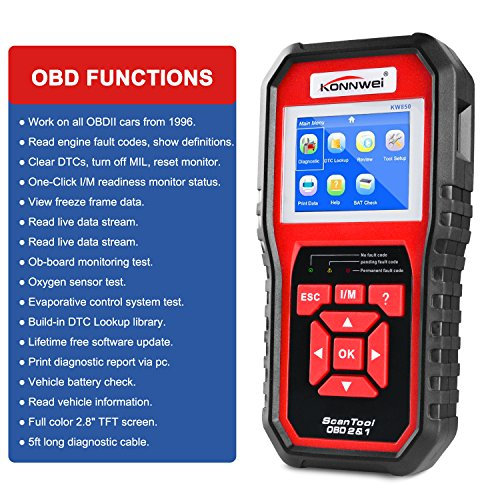 O2 Sensor Live Data: OBD2 Scanner, Auto Diagnostic Code Scanner KW850 Pro