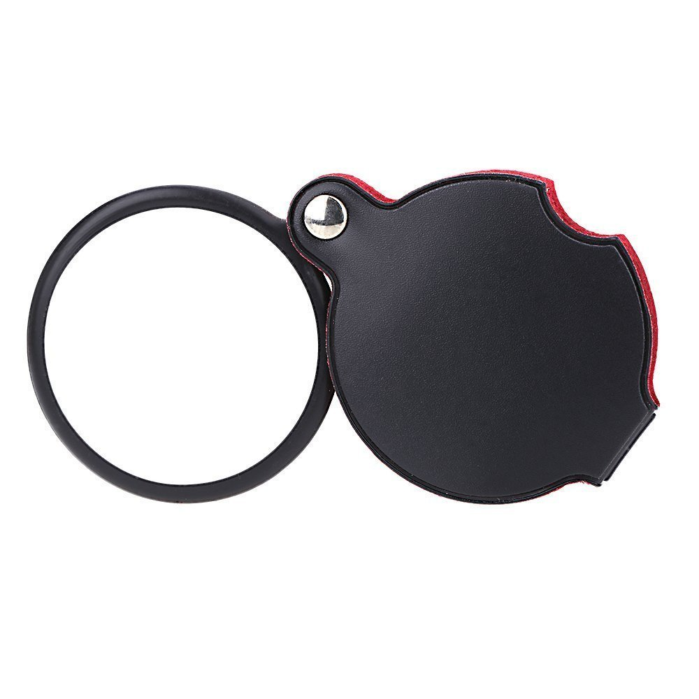 SODIAL(R) 5X Glass Lens Pocket Magnifier with Leather Pouch Folding Magnifying Tool 4332483818