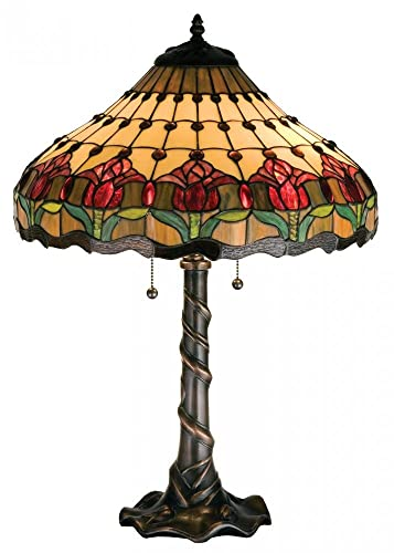 Meyda Tiffany 99270 Colonial Tulip Table Lamp, 25.5 H
