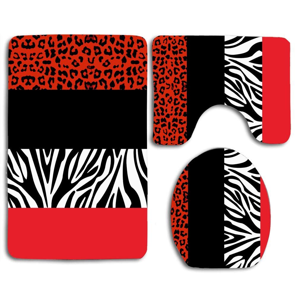 huachuangxinlHUQ Red Leopard and Zebra Animal Print Soft Comfort mat Anti-Skid Absorbent Toilet Seat Cover Bath Mat Lid Cover 3pcs/Set Rugs by huachuangxinlHUQ
