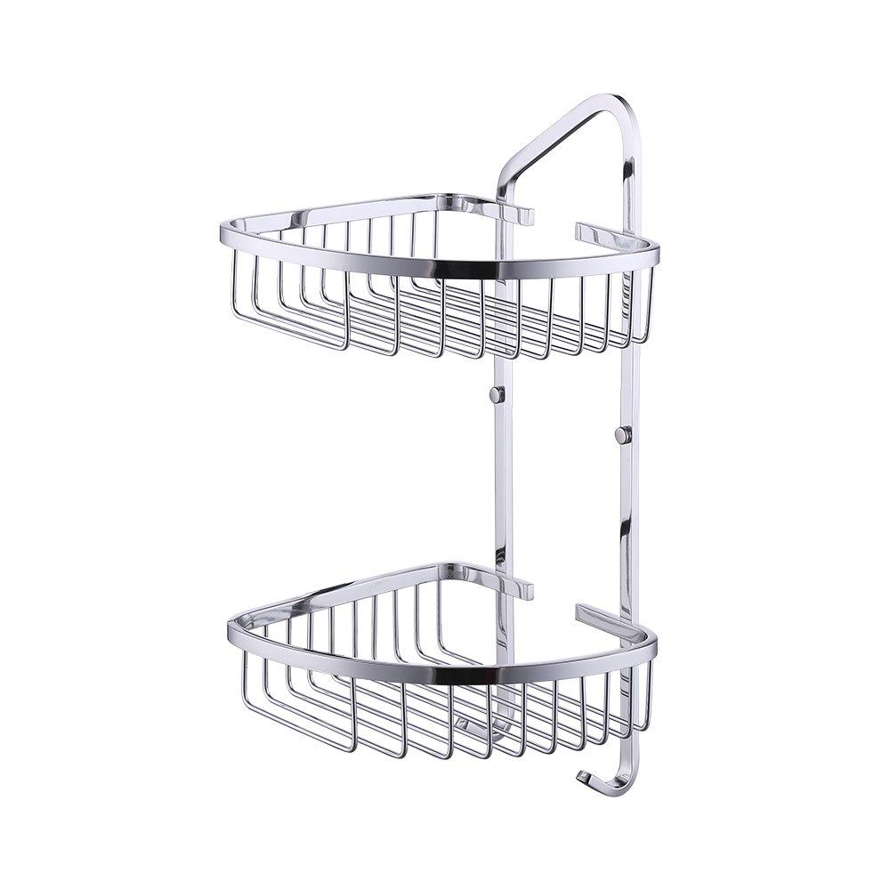 Kes A2124 Bathroom 2-Tier Corner Shelf Basket with Towel Hook Stainless Steel Wall-Mounted, Polished