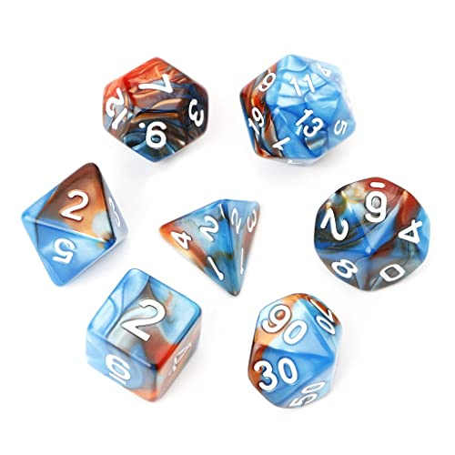 Ulkeme 7Pcs Set Acrylic Polyhedral Dice For Trpg Board Game Dungeons And Dragons D4 D20 Blue