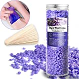 Hard Wax Beans 10.6 oz +10 pcs Wax Applicator Sticks, Painless Depilatory Waxing Kit,Hot Wax Beads For bikini, Arms legs,Armpit,Smooth Facial and Body Hair Depilatory Wax Beads (Lavender)