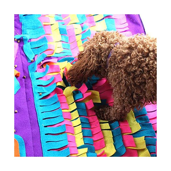 Pet Snuffle Mat Dog Foraging Mat Non-slip Dog Sniffing Mat Feeding Mats Training Mats Pet Training Feeding Stress Release Pad Nosework Blanket Washable Soft Interactive Puzzle Toy for Dog Cat 90cm 5