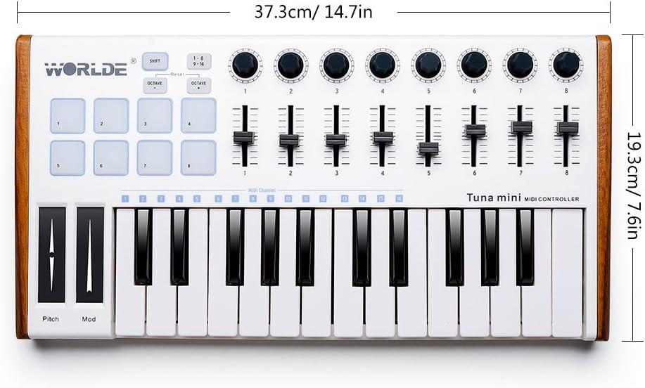 Controlador portátil de teclado de 25 teclas USB Tuna Mini MIDI para Mac y PC