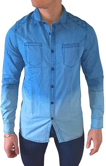 Camisa jean-Camisa para hombre, diseño de jean delave azul medium: Amazon.es: Ropa y accesorios