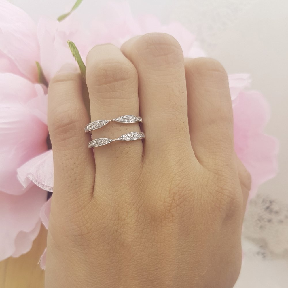 Dazzlingrock Collection 0.22 Carat (ctw) 14K Round Diamond Anniversary Wedding Band Guard Ring 1/4 CT, White Gold, Size 6 by Dazzlingrock Collection (Image #4)