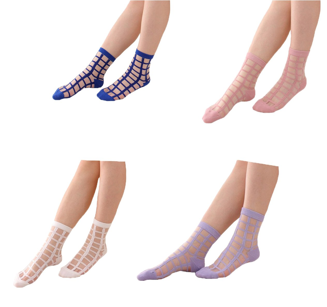 Lady Socks,Womens Pack-4 Spring Summer Glass Silk Series Stockings Thin Transparent Elastic Short Ankle Socks (4 Colors Mix)