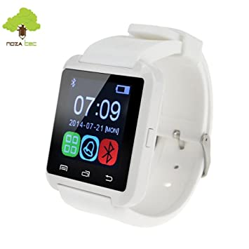 Noza Tec U8 Reloj Inteligente Smartwatch Deportivo con Bluetooth Compatible con Teléfono de Android Samsung, Apple iOS iPhone - Blanco