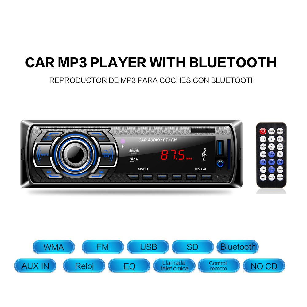 Radio Coche Bluetooth Reproductor de Mp3 Autoradio FM Esté reo de Automó vil Receptor de Audio/Radio Manos Libres MP4 / SD Car Stereo Soporte USB Tarjeta SD Entrada AUX Control Remoto Inalá mbrico AKKEE