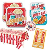 RDC Movie Night Party Supplies - 16 guests - Large and Small Plates, Napkins, tablecover