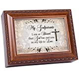 Cottage Garden My Godparents Woodgrain Inspirational Traditional Music Box Plays Friend in Jesus