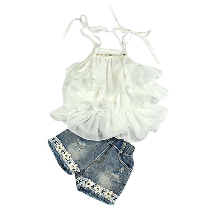 Covermason Niña Gasa Perla Chaleco Camisa y Vaquero Pantalones Cortos(1 Conjunto) (5-6Años, Blanco)