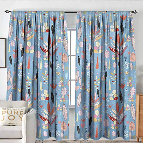 - Blackout Thermal Insulated Window Curtain Valance Colorful,Floral Artwork Autumn Leaves on Blue Backdrop Garden Theme Nature Illustration,Multicolor,Rod Pocket Valances 54