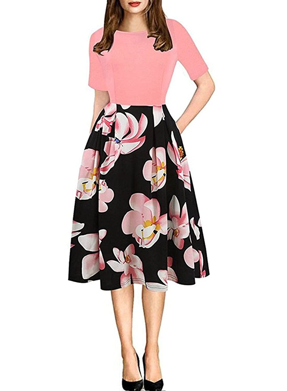 7a6a2e9433c BeneGreat Women s Vintage Floral Flare Patchwork Puffy Swing Cocktail Party  Dress with Pockets