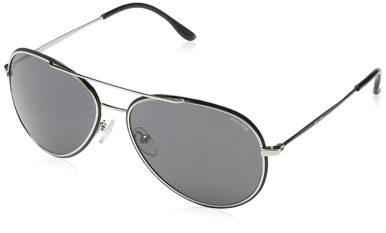 Metal Detail Aviator Sunglasses in Silver Black S8299 0583 58 Police McQg9