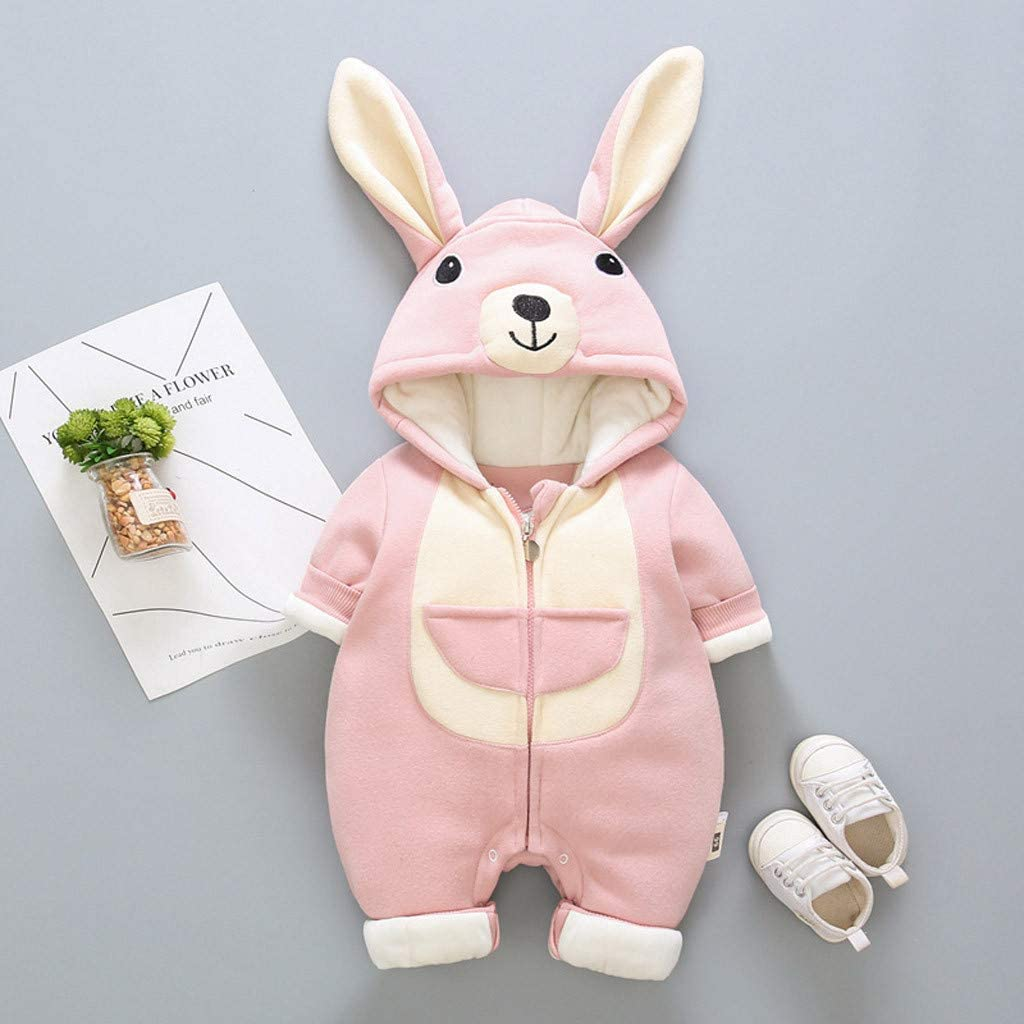 Newborn Thick Winter Romper Solid Color Rabbit Print Hooded Long Sleeve Jumpsuit Playsuit Outfits,SIN vimklo