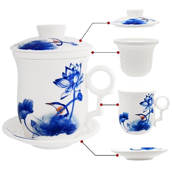 Teetasse Teezubereitung mit losen Bl/ättern f/ür das Heimb/üro Chinesische Jingdezhen-Keramik-Kaffeetasse Hollihi Porzellan Teetasse mit Deckel und Untersetzer und Innensieb