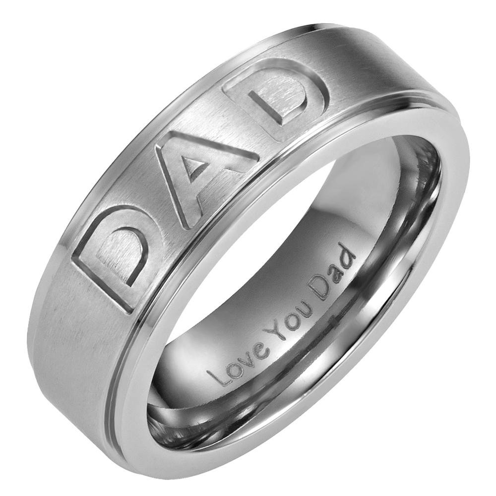 Men's DAD Ring Engraved Love You Dad with Gift Pouch by Willis Judd