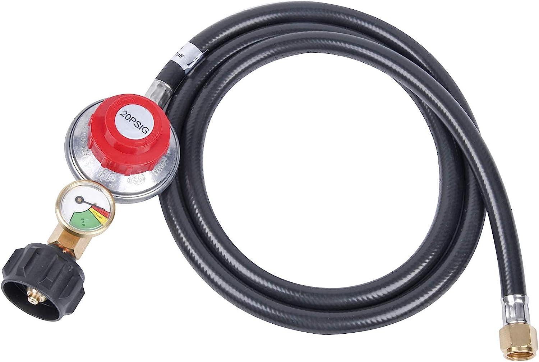 """GasSaf 5FT Adjustable Propane Regulator, High Pressure Propane Regulator Hose with Gauge Suitable for Burners,Turkey Fryers,Forge,etc - 3/8""""Female Flare Nut"""