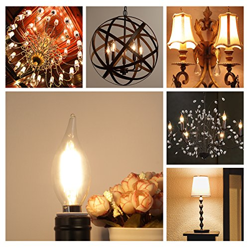 E12 LED Candelabra Bulb 60W Equivalent Dimmable LED Chandelier Light Bulbs 6W 2700K Warm White 550LM CA11 Flame Tip Vintage LED Filament Candle Bulb with Decorative Candelabra Base, 6 Packs, by Boncoo by Boncoo (Image #6)