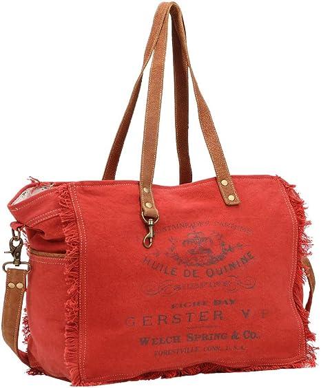 Myra Bag Carmine Upcycled Canvas & Leather Weekender Bag S-1437