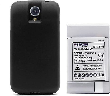 Perfine Perfectamente Compatible with Samsung S4 7500mAh Batería I9500 I9505 Batería extendida de Iones de Litio incorporada con Funda Protectora TPU ...