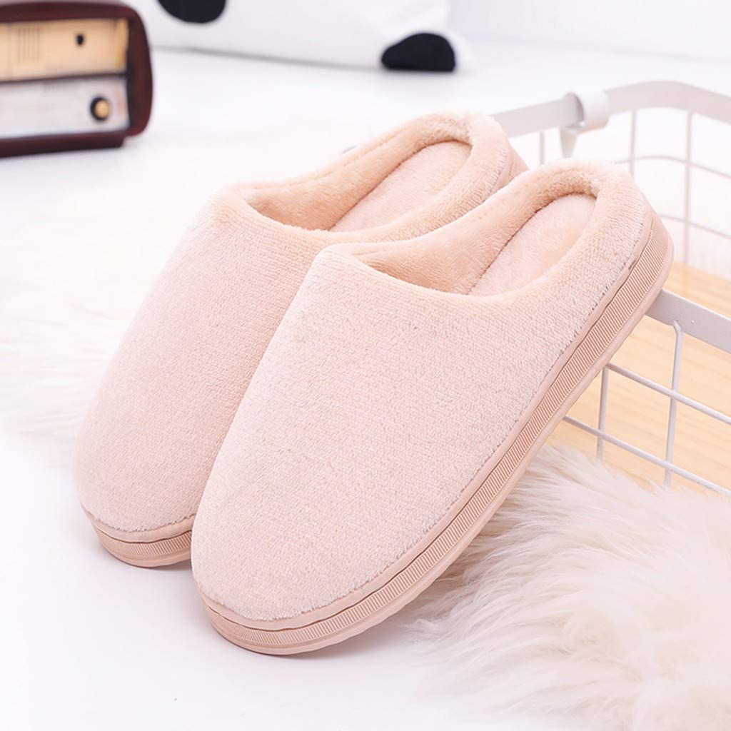 Pongfunsy Women/'s Cute Comfy Fuzzy Memory Foam Slip On House Slippers Indoor Couples Solid Color Warm Non-Slip Shoes