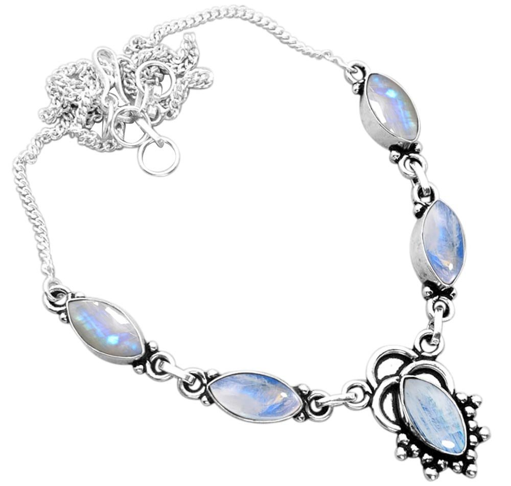 14.00ct,Genuine Rainbow Moonstone & 925 Silver Plated Necklace