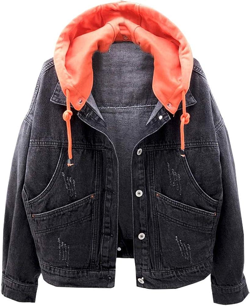 LifeShe Womens Casual Detachable Hoodie Denim Jacket