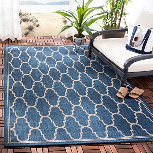 (Safavieh Courtyard Collection CY6016-268 Navy and Beige Indoor/ Outdoor Area Rug (8' x 11'2