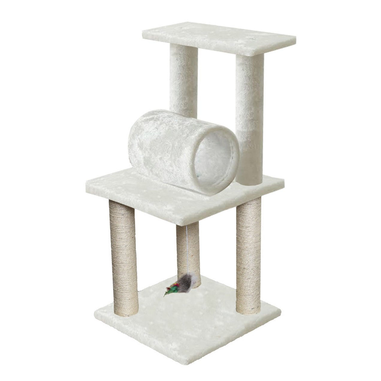 33 White Pet Cat Tree Play Tower Bed Furniture Scratch Post Tunnel Top Mouse toy notch by Unbranded by na (Image #3)