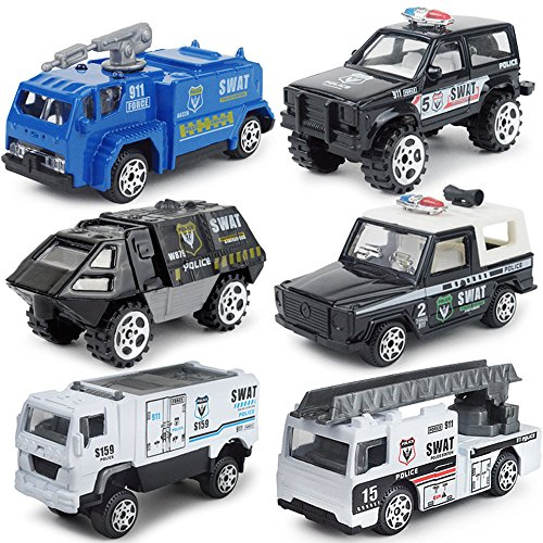 JQGT Diecast Police Cars Metal Playset Vehicle Models Collection Police Patrol Jeep Swat Truck Toy for Kids -- 6 PCS