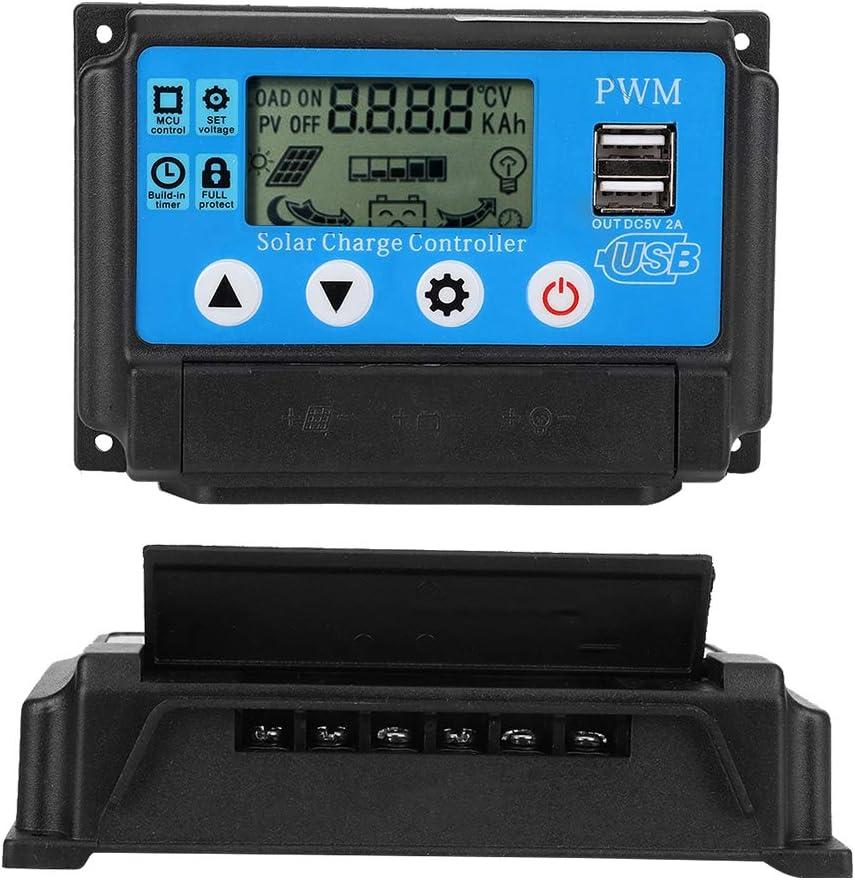 PWM Controlador de Carga Solar, 12V/24V Controlador de Cargador Solar, Regulador de Panel Solar con Doble Puerto USB & Pantalla LCD, Auto Trabajo Controlador de Batería de Panel Solar(40A)