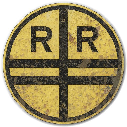Railroad Train Crossing Tin Metal Warning Sign, Reproduction of Rusted 1927 Vintage Sign :: 14 inches diameter [AYY017] (Signs Railroad Vintage)