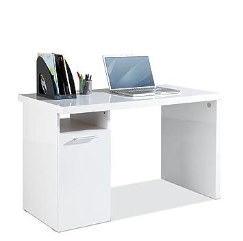 Schreibtisch Computertisch Arbeitstisch Servo Weiß Hochglanz