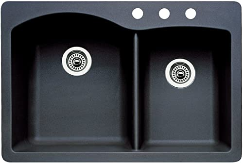 Blanco 440215-3 Diamond 3-Hole Double-Basin Drop-In or Undermount Granite Kitchen Sink, Anthracite